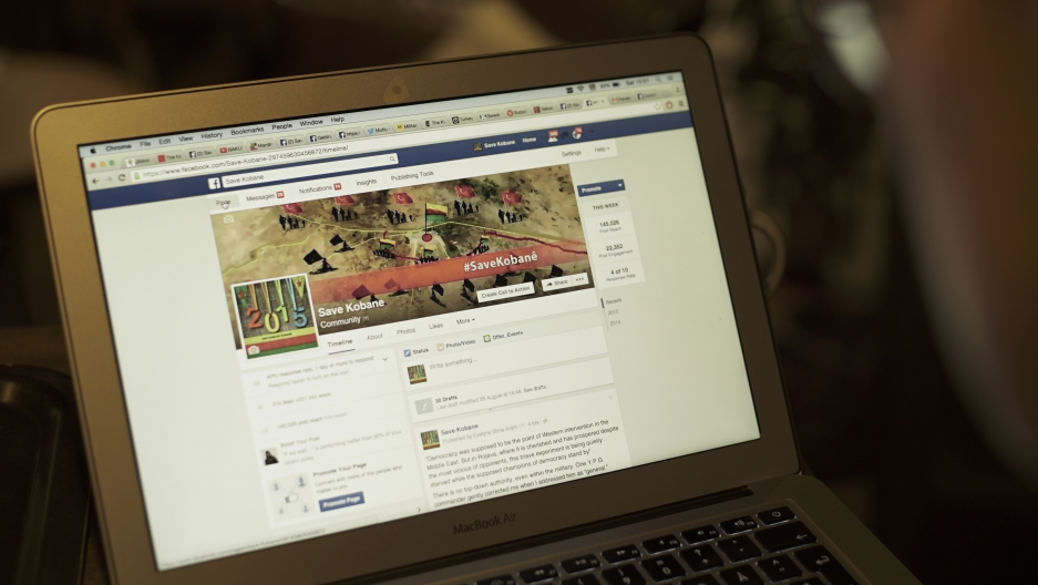 The Save Kobani Facebook page. Facebook routinely takes down its posts.