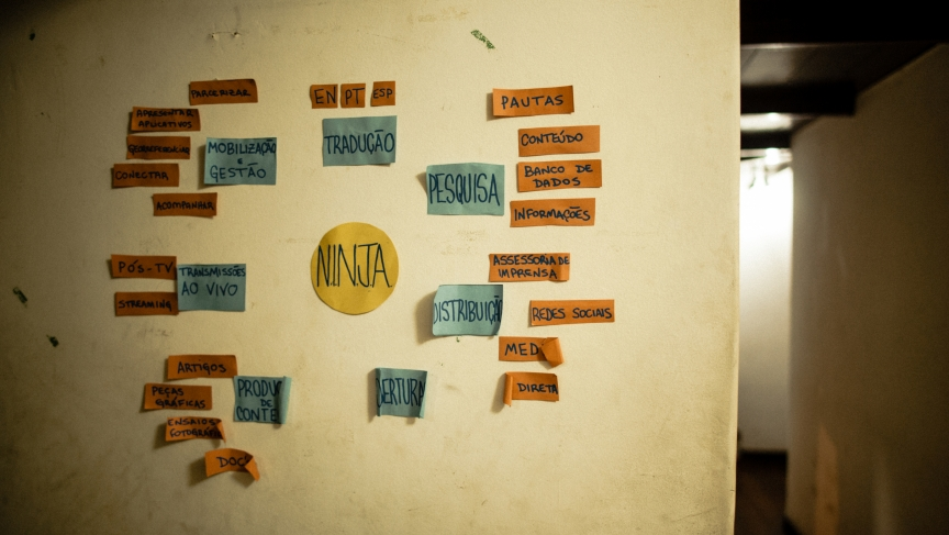 Post-it notes on the wall at Midia Ninja HQ helps them stay organized.