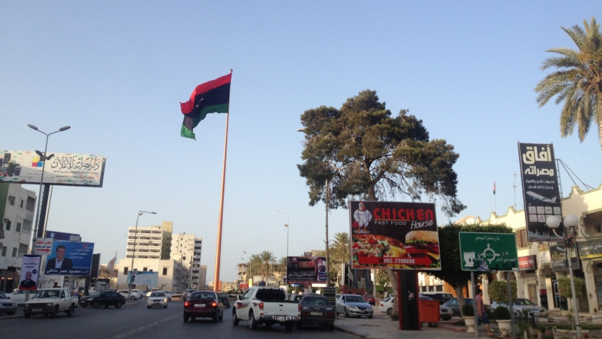 Misrata's main roundabout at Tripoli Street, the epicenter of the battle for Misrata in 2011. More than three years later it's a sign of the city's prosperity.