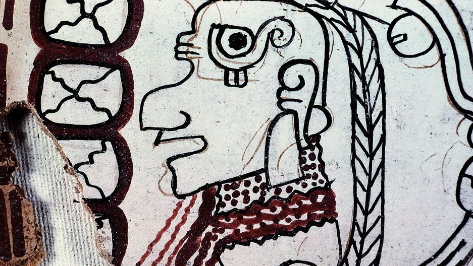 A detail of an image from page 4 of the Grolier Codex with red underpainting vis