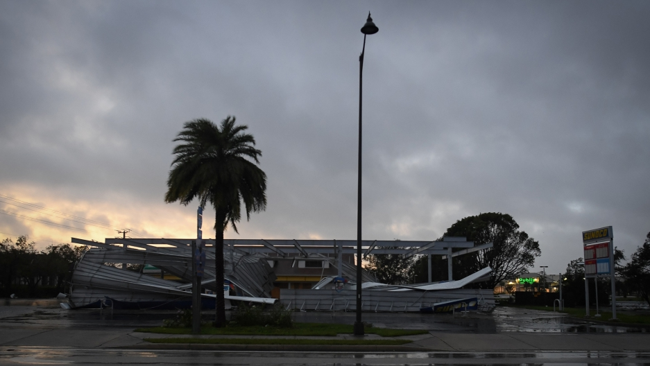 The crumbled canopy of a gas station damaged by Hurricane Irma is seen in Bonita Springs, Florida.