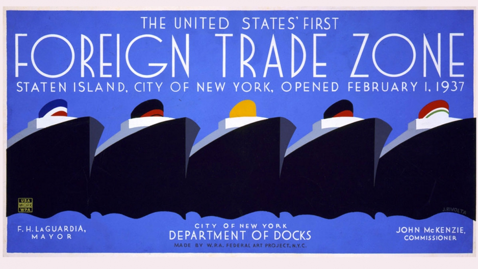 A 1937 poster celebrating the United States' first foreign trade zone: Staten Island.