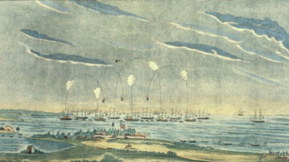 The British attack on Ft McHenry, 1814