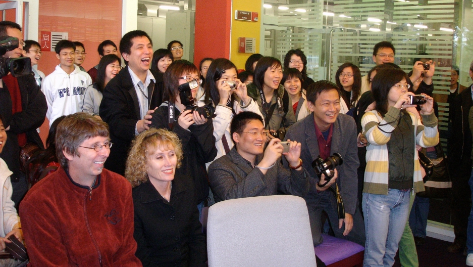 Journalism students gather at Shantou University, in China's Guangdong province