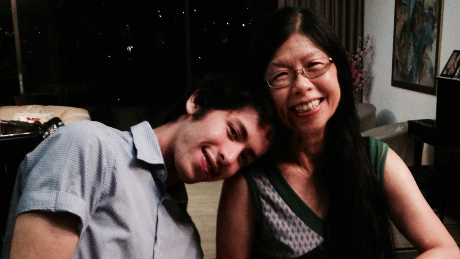 Daniel Gross, left, is pictured with his mother in Singapore.