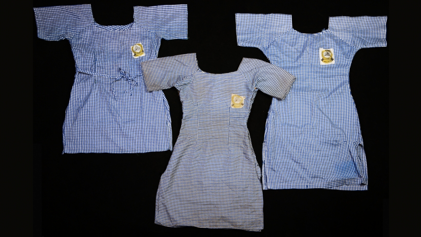 Chibok girl's school uniforms from three of the kidnapped girls.