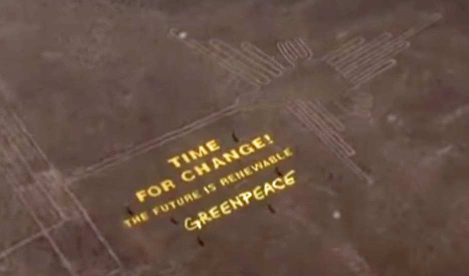 Greenpeace message next to Peru's Nazca Lines.