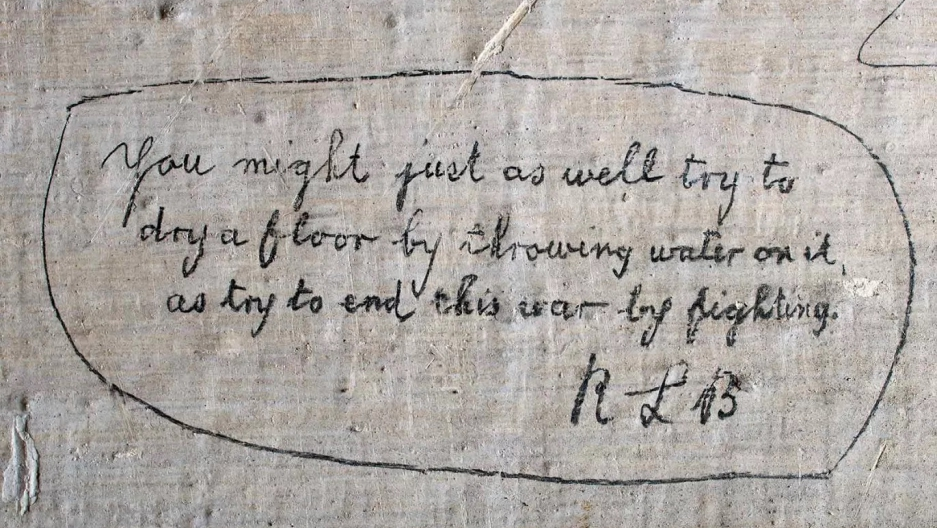 Graffiti on the walls of Richmond Castle in England. This inscription is by a socialist conscientious objector called Richard Lewis Barry. He describes the futility of fighting.