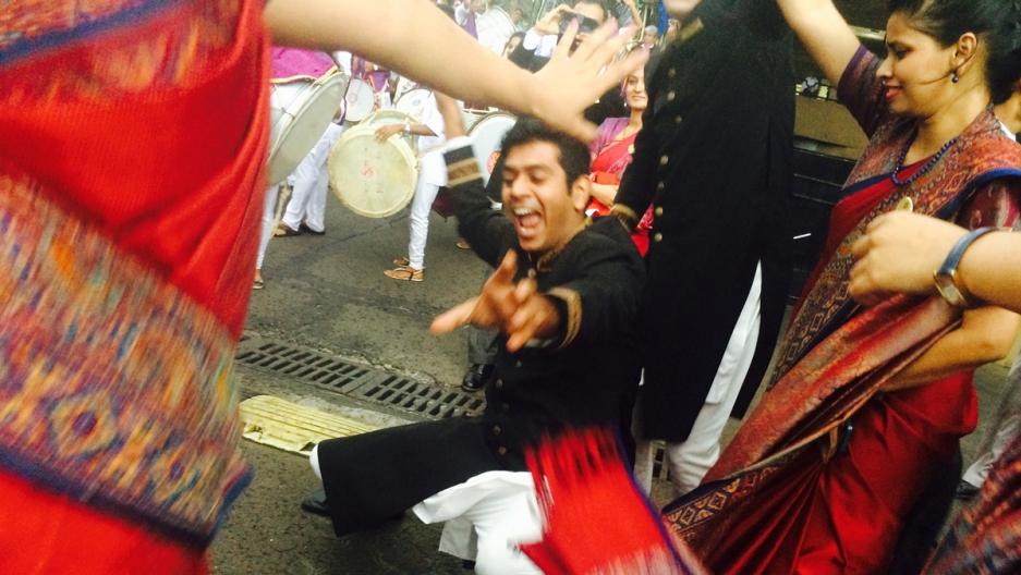 People celebrate during the Ganesh festival in Mumbai.
