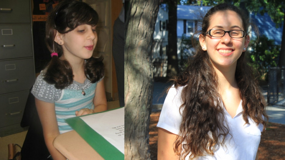 Gilli Danenberg in second grade (L) when she first arrived in the US from Israel at the age of seven, and Gilli now, age 14.
