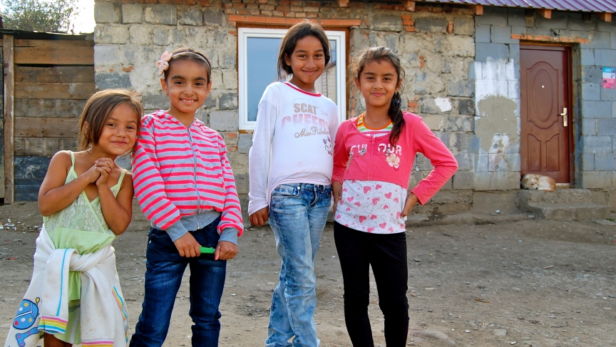 Young Roma girls hanging out in the Ostrovany settlement, outside of Šarišské Michaľany. It's home to 1,500 mostly-poor Roma.