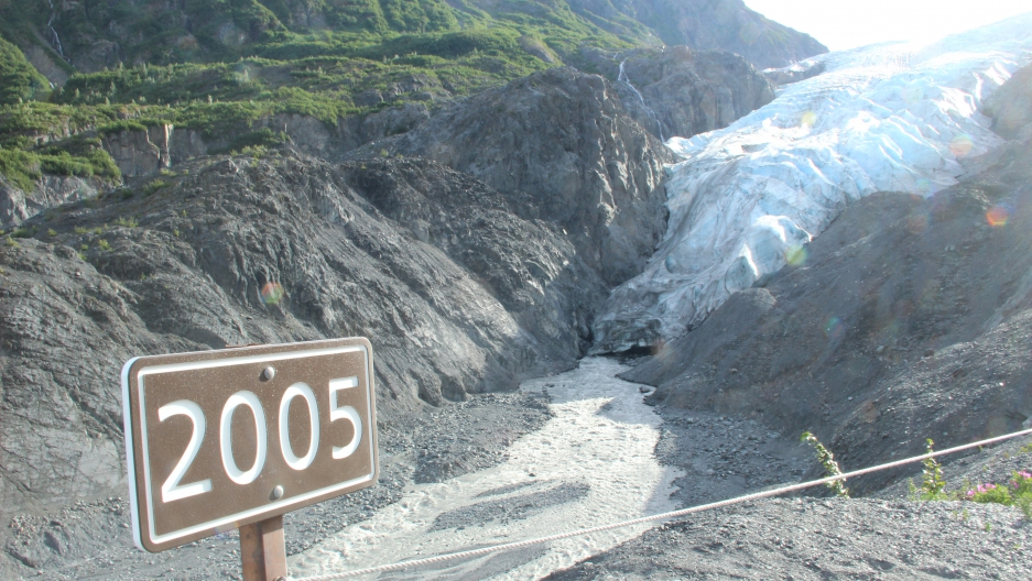 The Exit Glacier, a two-and-a-half hour drive outside of Anchorage, has posts that mark the glacier's rapid retreat. This one shows the glacier's reach just 12 years ago.