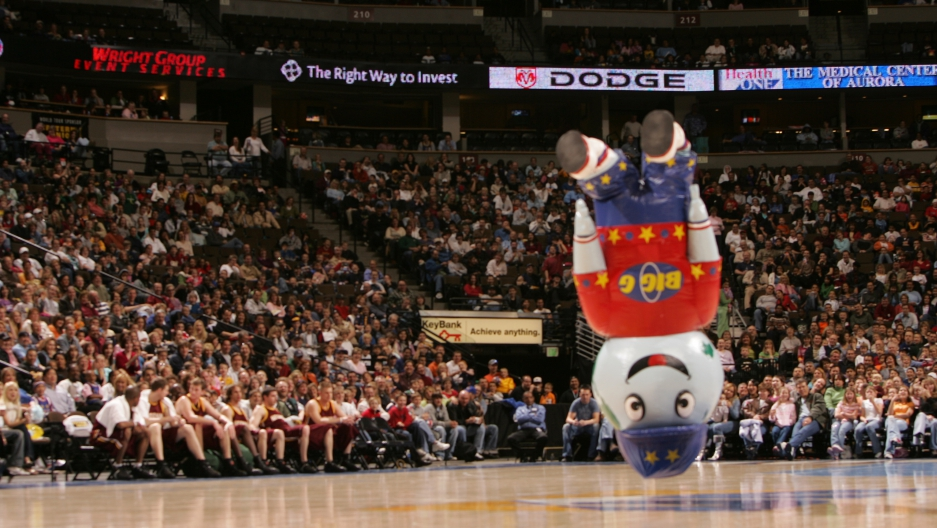 "The company ""Signs and Shapes"" in Omaha builds inflatable mascots for professional sports teams, built to entertain and withstand a beating. ""Globie"" is the mascot for the Harlem Globetrotters."