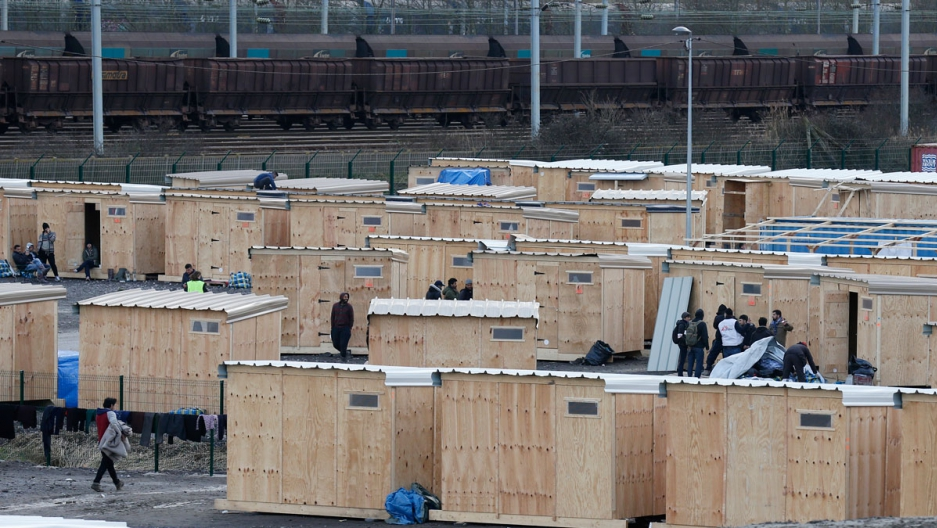 Rows of shelters in a new refugee camp in Grande-Synthe in northern France, March 8, 2016.