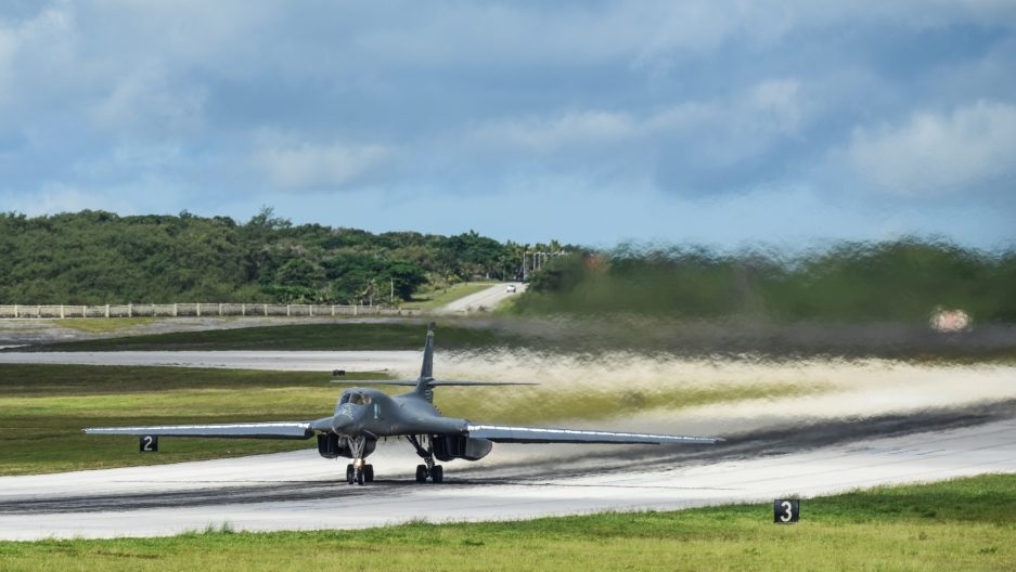 A US Air Force B-1B Lancer bomber takes off from Andersen Air Force Base, Guam.