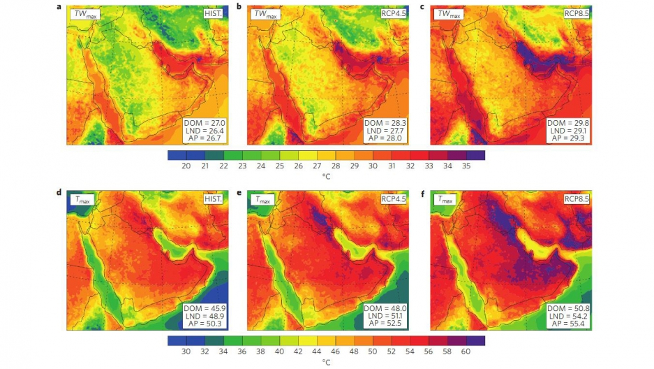Climate conditions in much of the Persion Gulf/Arabian Peninsula area will often push past the limits of human adaptability by the end of this century under current greenhouse gas pollution trends, according to a new report in Nature Climate Change. These