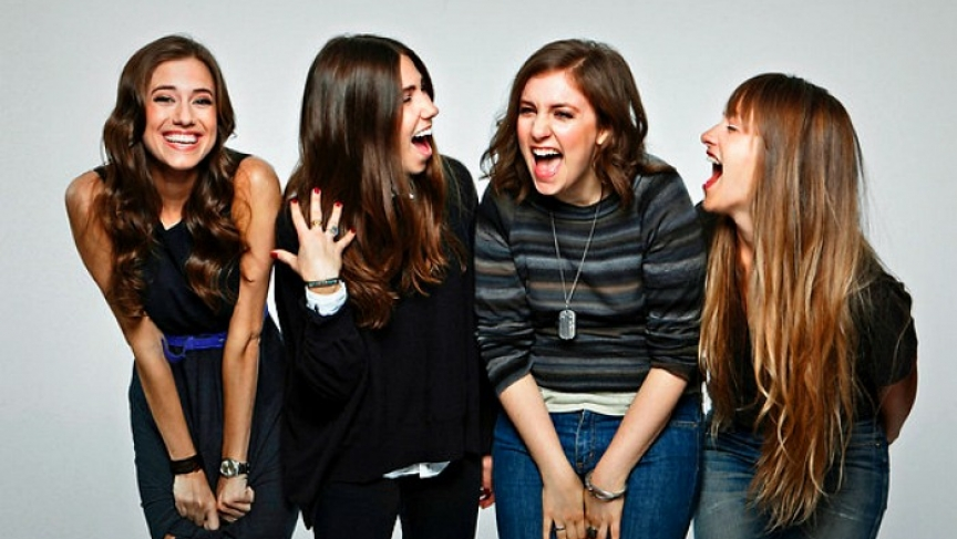 Lena Dunham (second from right) and the other principal actors of the hit HBO series, Girls.