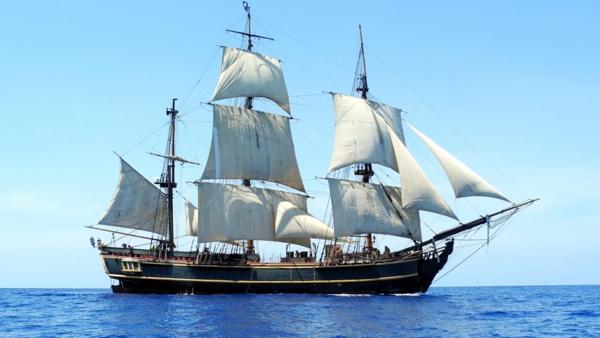 The re-created HMS Bounty, which sank in Hurricane Sandy in 2012.