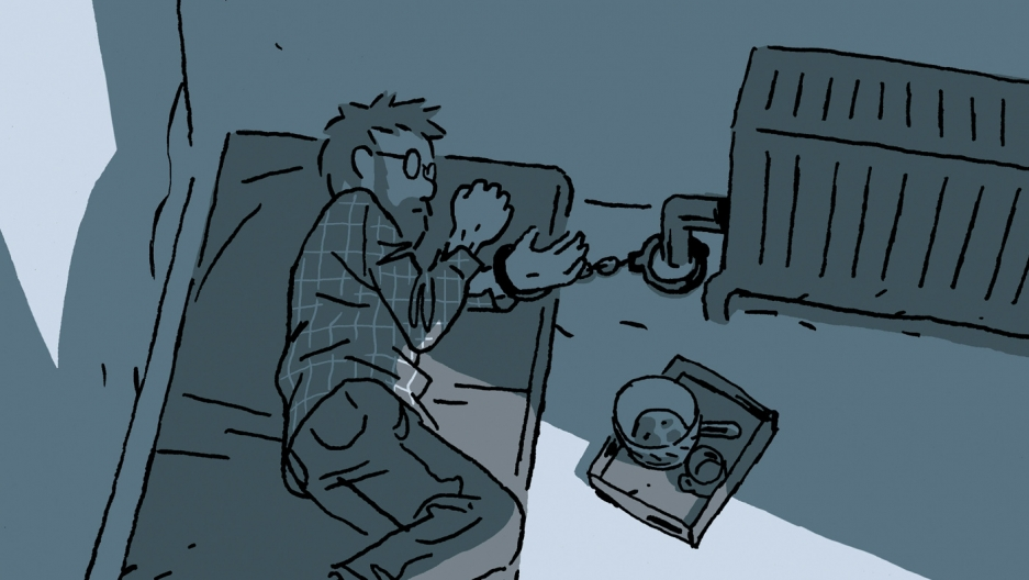 cover of Guy Delisle's new book, Hostage, showing the hostage handcuffed to a radiator
