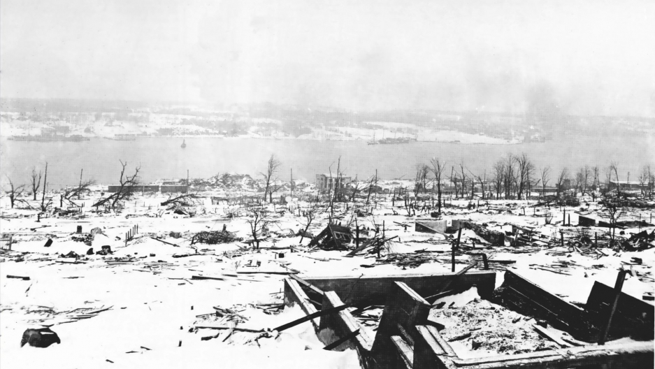 A view across the devastated city of Halifax, Nova Scotia after the Halifax Explosion, looking toward the harbor.