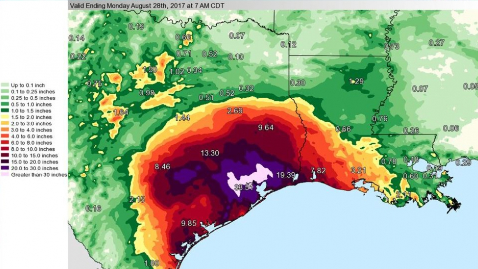 """So much rain has fallen,"" the National Weather Service tweeted about Harvey on Monday, ""we've had to update the color charts on our graphics in order to effectively map it."""