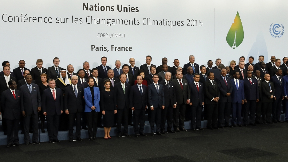 World leaders gather for a group photo at the Nov. 30 opening of the UN's global climate summit in Paris. The conference was supposed to adjourn today but with key parts of the text still to be nailed down, negotiations have been extended into the weekend