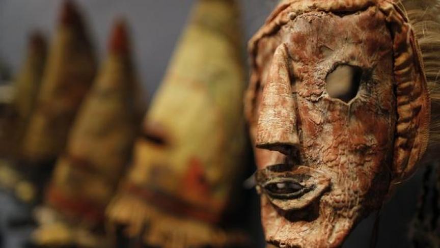 A rare antique tribal mask, Kachina Hapota, circa 1910-1920