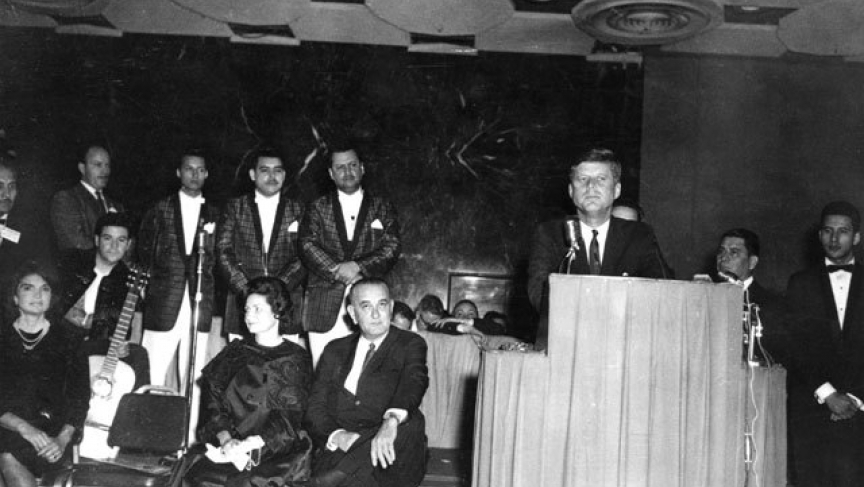 President John F. Kennedy speaking to a group of Latinos at the Rice Hotel in Houston, Nov. 21st, 1963, the evening before he was killed.