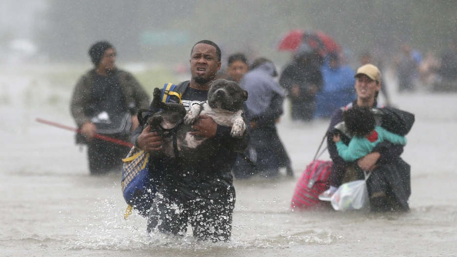 Isiah Courtney carries his dog Bruce through flood waters from Tropical Storm Harvey in Houston.