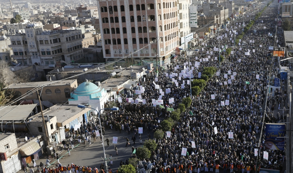 Followers of the Houthi movement march as they demonstrate to show support for the Shiite rebel group in Sana'a on January 23, 2015.