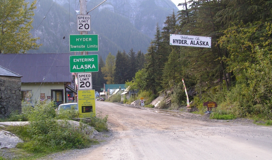 The border between Stewart, British Columbia and Hyder, Alaska as seen from the Canadian side.
