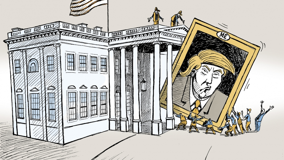 donald trump putin syria and assad dominate political cartoons