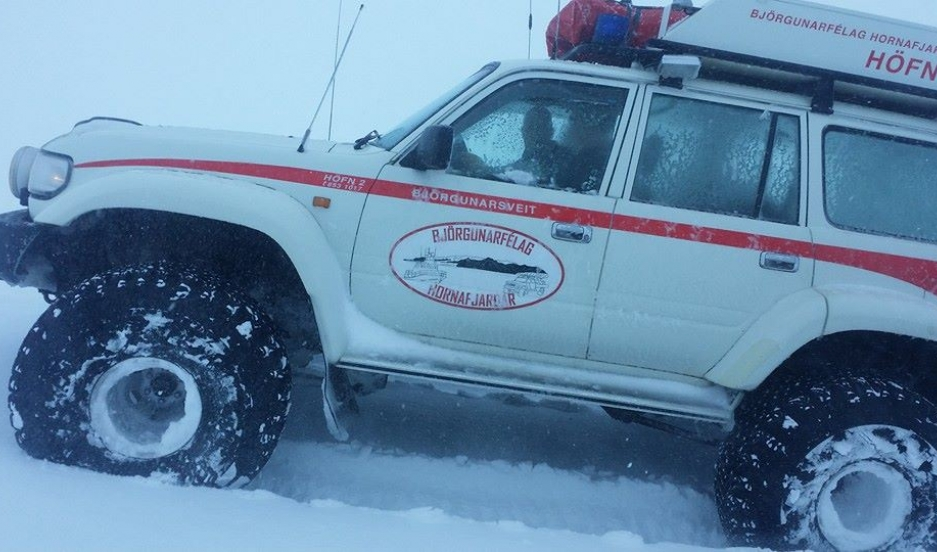 Volunteer search and rescue team en route to save a pair of Finnish cross-country skiers stuck on Vatnajökull glacier, Iceland.