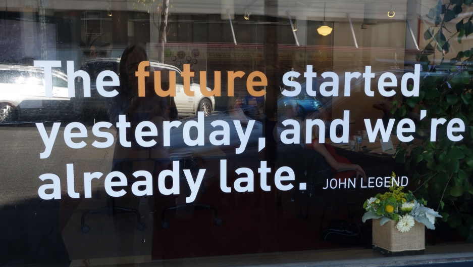 Institute for the Future grabs attention of passersby with slogans on its front windows in Palo Alto, CA.
