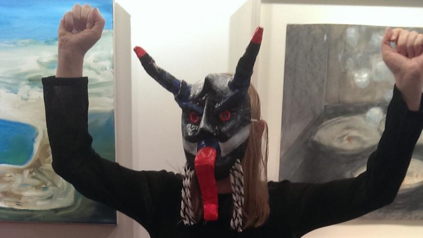 Joanna Ebenstein, founder of Morbid Anatomy, in a Krampus mask.