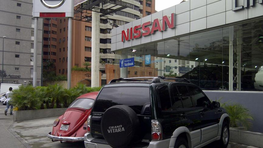 No new cars at this Nissan dealership in Caracas, Venezuela.