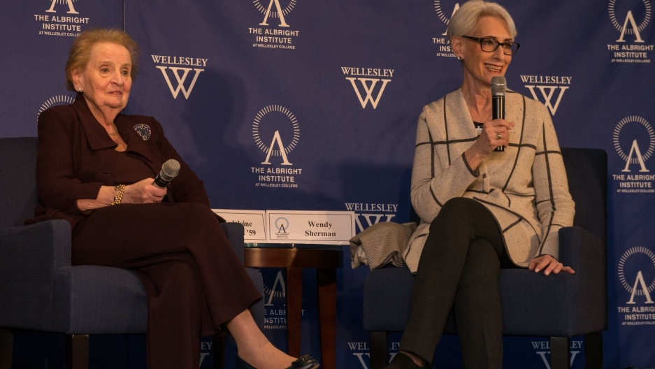 Former Secretary of State Madeleine Albright and Amb. Wendy Sherman speaking at Wellesley College.
