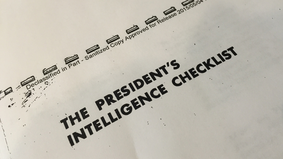 The first daily Presidential Intelligence Checklist, dated June 17th, 1961, and marked 'Top Secret, For the President's Eyes Only'