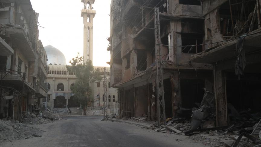 Even before the chemical attack, the Zamalka neighborhood of Damascus suffered government bombardment.