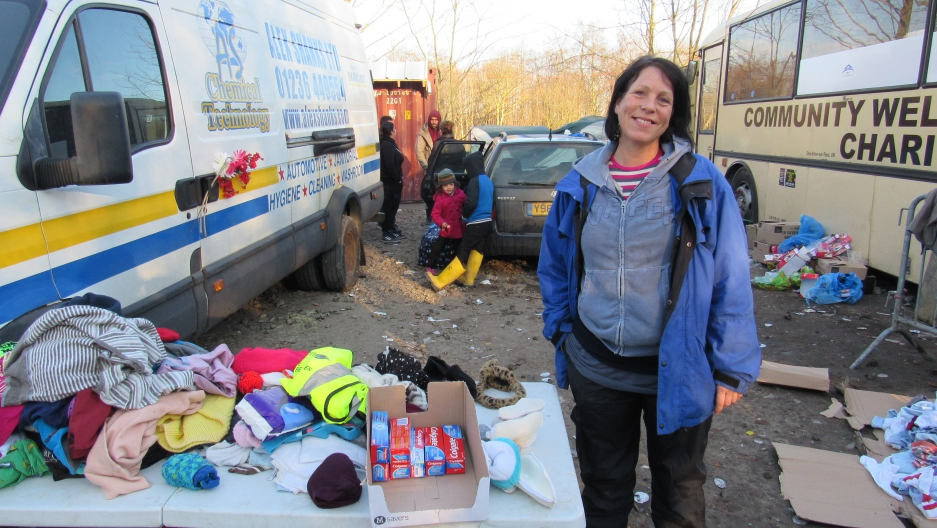 "British volunteer Tally Oliver took a leave from her job in the UK and loaded her car with provisions to help migrant families in the camp at Grande-Synthe. ""It's a humanitarian crisis that we all have to take responsibility for."""