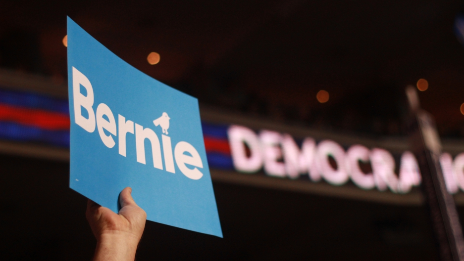 Bernie Sanders fans show their support during the Democratic National Convention in Philadelphia, July 25, 2016.