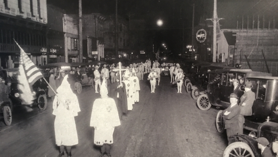 A 1923 Ku Klux Klan parade in Albany is pictured