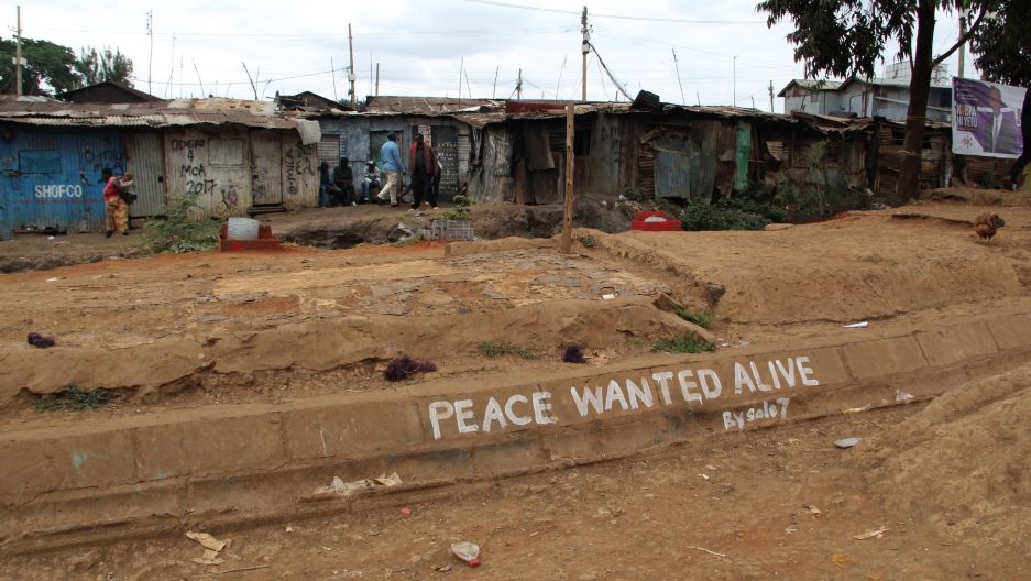 Peace messages by graffiti artist Solo7 adorn Nairobi's Kibera slum in the run-up to the election on August 8.