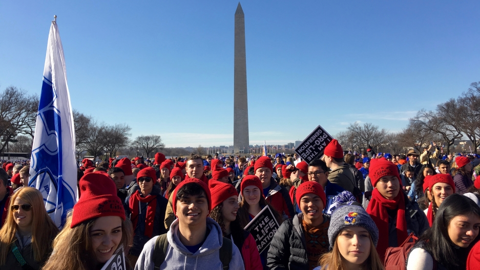 """Catholic high school students from all over the country attended Friday's """"March for Life"""" event in Washington, DC. This group from Kapaun Mt. Carmel Catholic High School in Wichita, Kansas took buses to be there."""