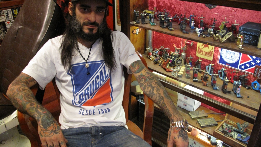 Turkish tattoo artist Danny Garcia in his Istanbul tattoo parlor.