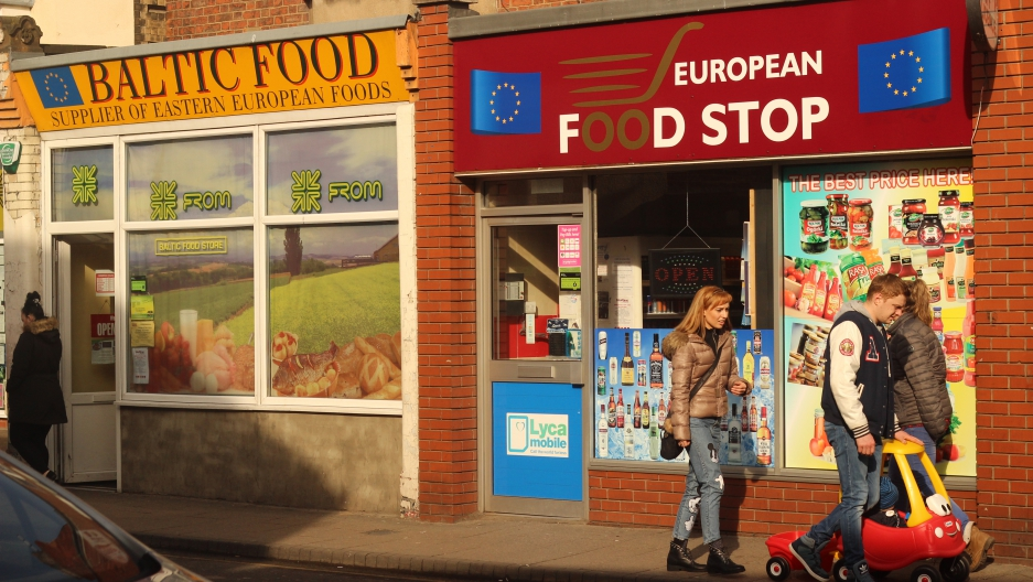 One of the high streets in Boston is dominated by shops aimed at recent arrivals to the town