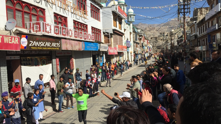 Shabbir Hussain reaches the finish line of the Khardung La Ultra Marathon, coming in first with a time of 6 hours and 23 minutes.