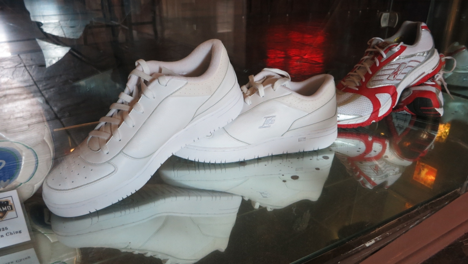Yao Ming's size 17 shoes are on display at a Houston restaurant that his family partly owns.