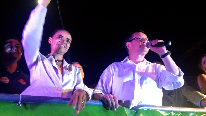 Presidential candidate Marina Silva is introduced at a recent rally in Rio de Janeiro, Brazil.