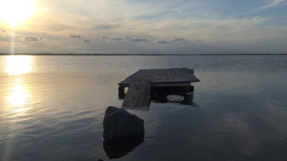 Isle de Jean Charles, along the Louisiana's coast, toward the bottom of Terrebonne Parish.